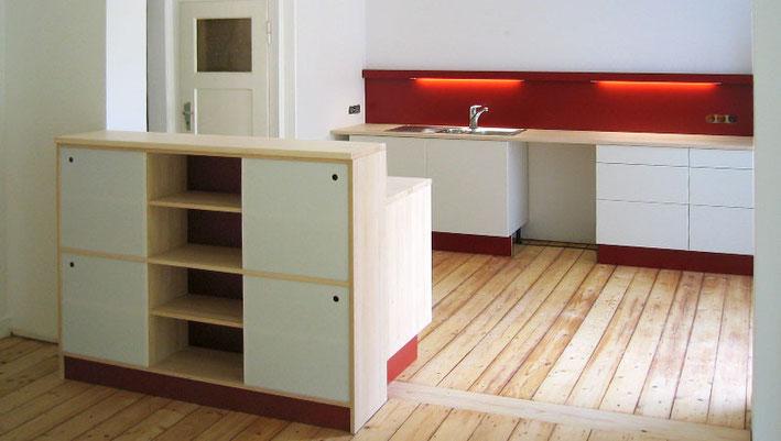 Küchenblock aus Ahorn / HPL rot