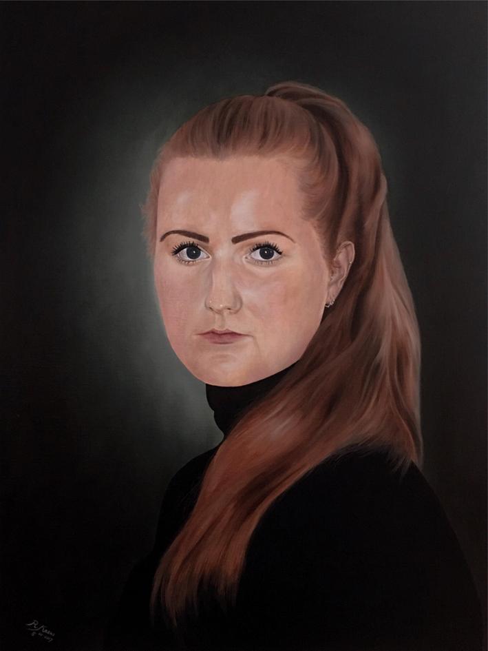 Esther - Olieverf op linnen - formaat 70 x 100 cm ( geïnspireerd op werk van Desiree Dolron)