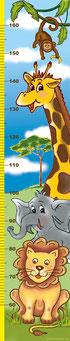Kindermesslatte mit Affe, Giraffe, Elefant und Löwe - liebevoll handgemaltes Motiv
