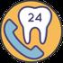 Symbole Telefonhörer und Zahn