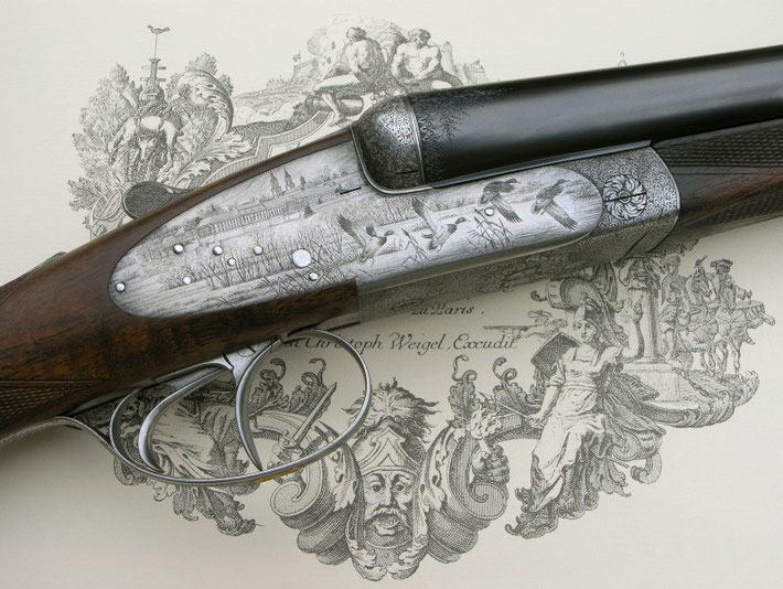 St. Florian monastery engraved on a Vintage Lovena shotgun