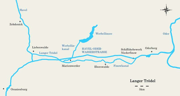 Übersichtskarte Langer Trödel mit Havel-Oder-Wasserstraße und Finowkanal