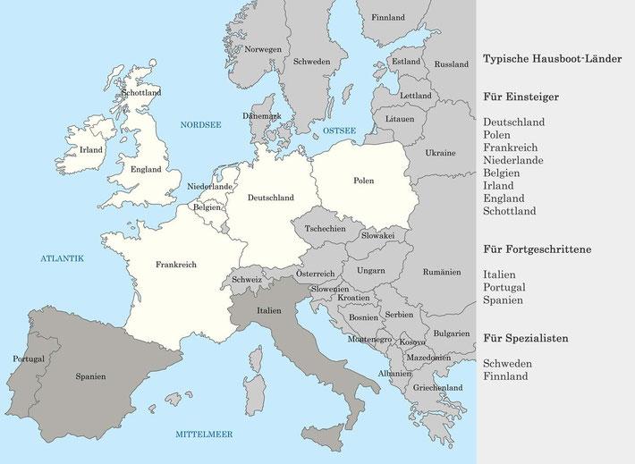 Übersicht typischer Hausbootländer in Europa