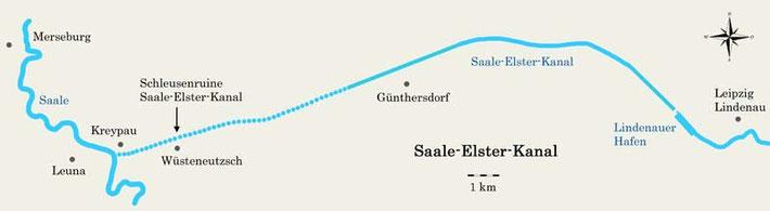 Übersichtskarte Saale-Elster-Kanal