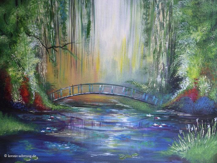 nach Monet, Landschaft  mit Brücke