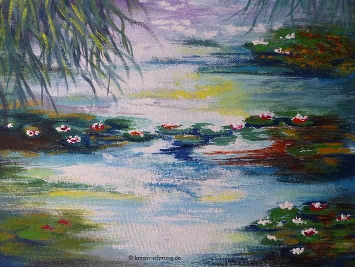 Die Seerosen nach Monet, Gouache 2020