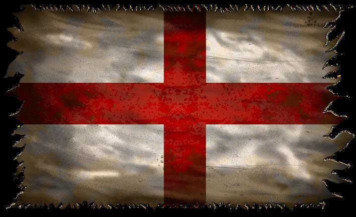 Ansicht der englischen Flagge mit dem Georgskreuz