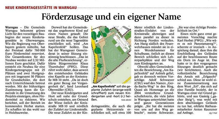 Zeitungsausschnitt neuer Kinderhort in Warngau
