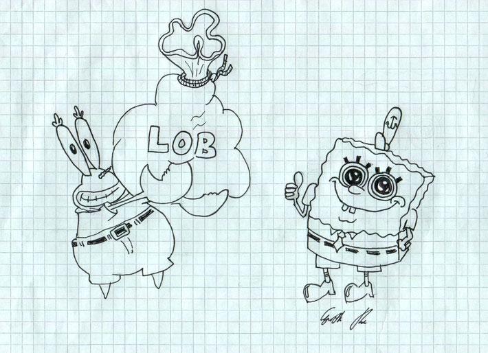 Also immer in höchsten Tönen loben, wie bei SpongeBob und Mr. Krabs??? (Handzeichnung, Urheberrecht bei Projektgruppe)