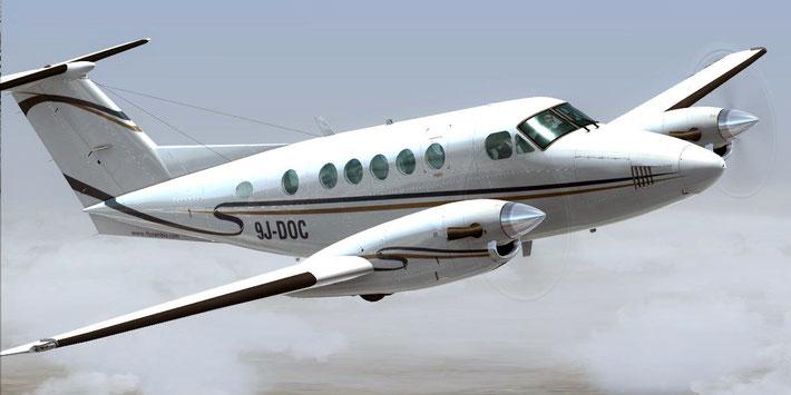 CARENADO Beech King Air 200 ProCharter Zambia Livery