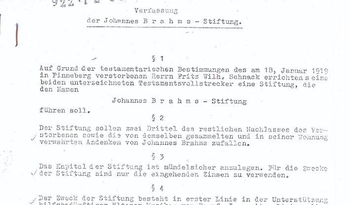 Auszug aus der ursprünglichen Fassung der Johannes Brahms-Stiftung