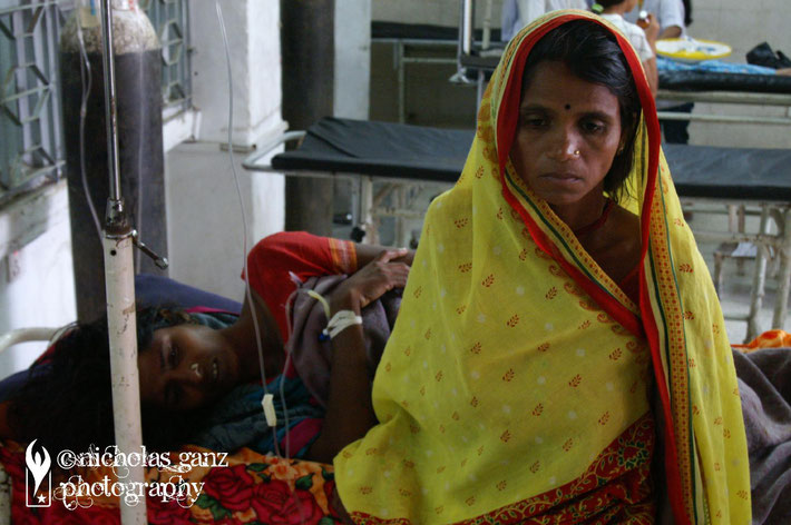 Patients inside Kathmandu's main BIR hospital.