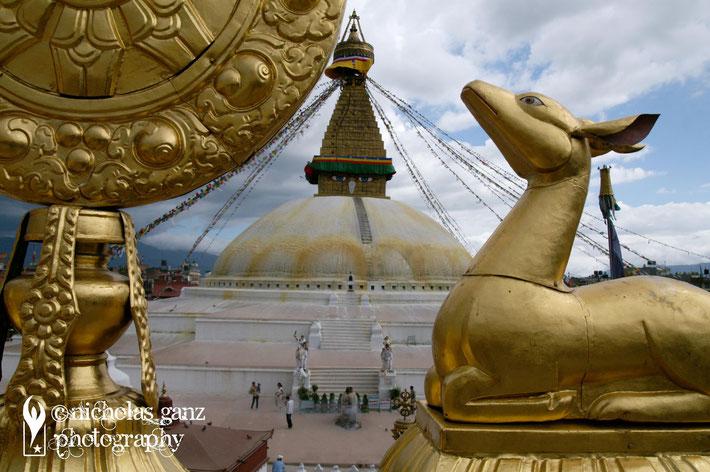 The holy Buddhist Boudha stupa in Kathmandu.