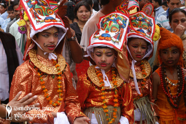 The colourful Gaj Jatra festival, where the Hindu families commemorate their loved one's, who passed away in the previous year.