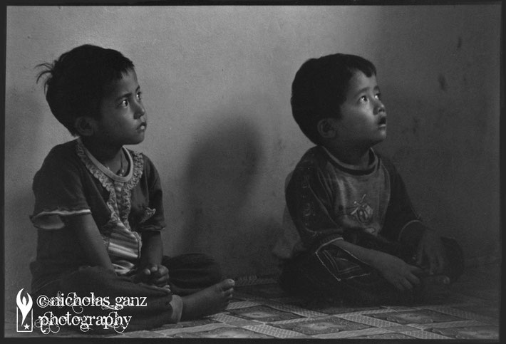 Two boys of the lower caste of Dalith's visiting a pre-school sponsored by an aid organisation.