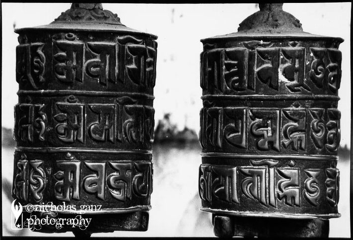 Prayer wheels at the Swambhu temple in Kathmandu, Nepal.