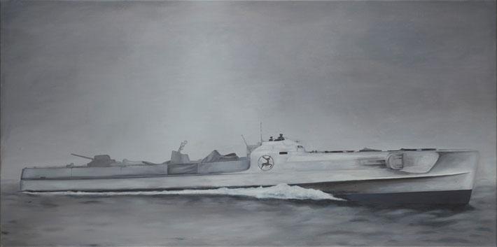 z.t. oorlogsschip in opdracht van G. Sonneveld, Schiedam.    100 x 50 cm.  olieverf - linnen  2010