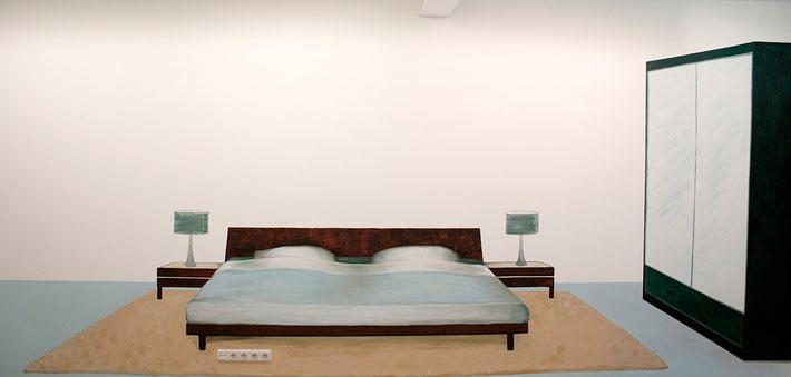 """educatieproject """"zomergasten""""  , muurschildering in opdracht van Heden, Den Haag.  acrylverf - muur    z.t. ouderlijke slaapkamer  230 x 550 cm.  2013"""