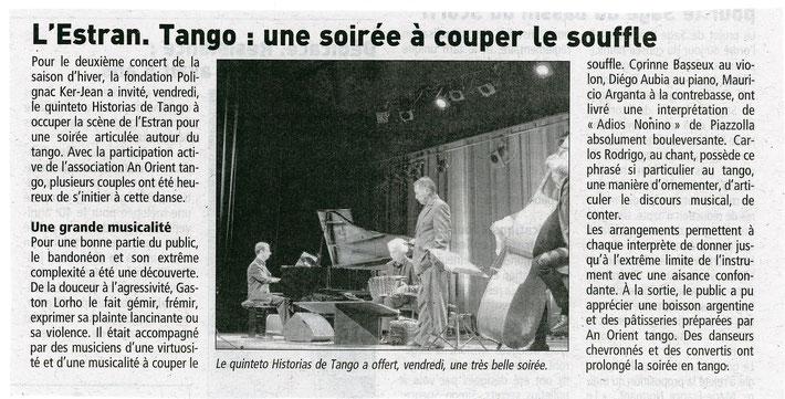 Article de presse Le Télégramme - Concert Historias de Tango à L'ESTRAN