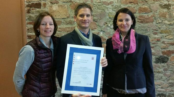 Zertifizierung Gesundheit und Bewegung, Oktober 2015