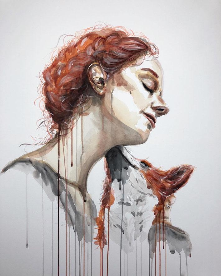 Acryl und Aquarel Kunst Porträt einer rothaarigen Frau und eines Fuchses © Ayla Phoenix art