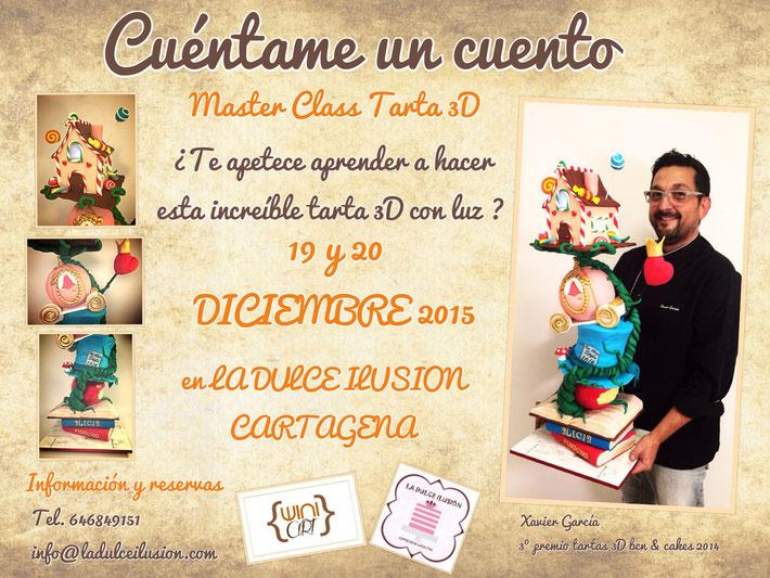 Master class tarta 3D, en Cartagena, Murcia. Xavier Garcia de winiart Barcelona. Tarta de fondant con bizcochos y dummies, utilizando cholocate plástico, aerografo...