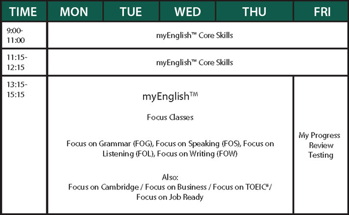 General English - Sample Timetable