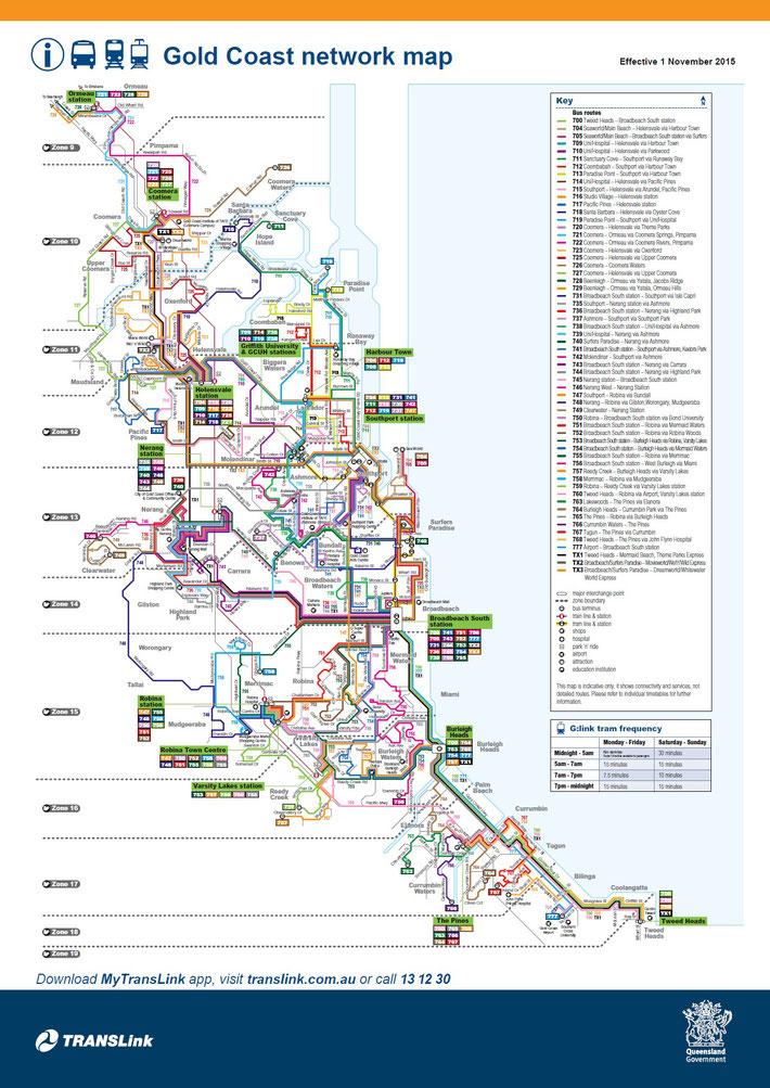 Gold Coast 公共交通路線図