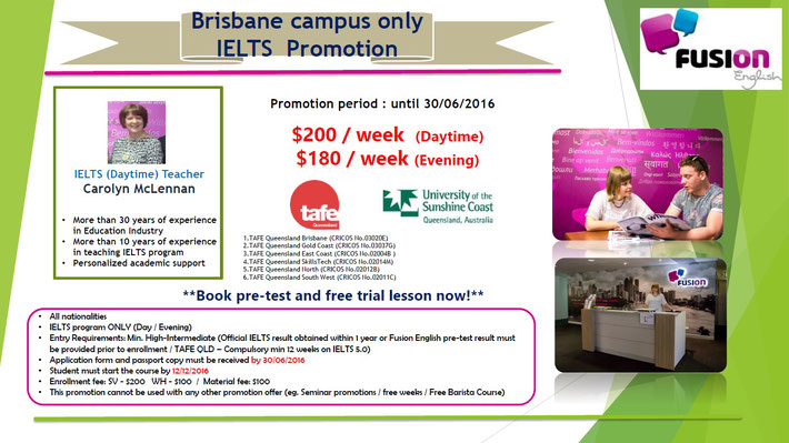 Fusion English Brisbane - IELTS Promotion