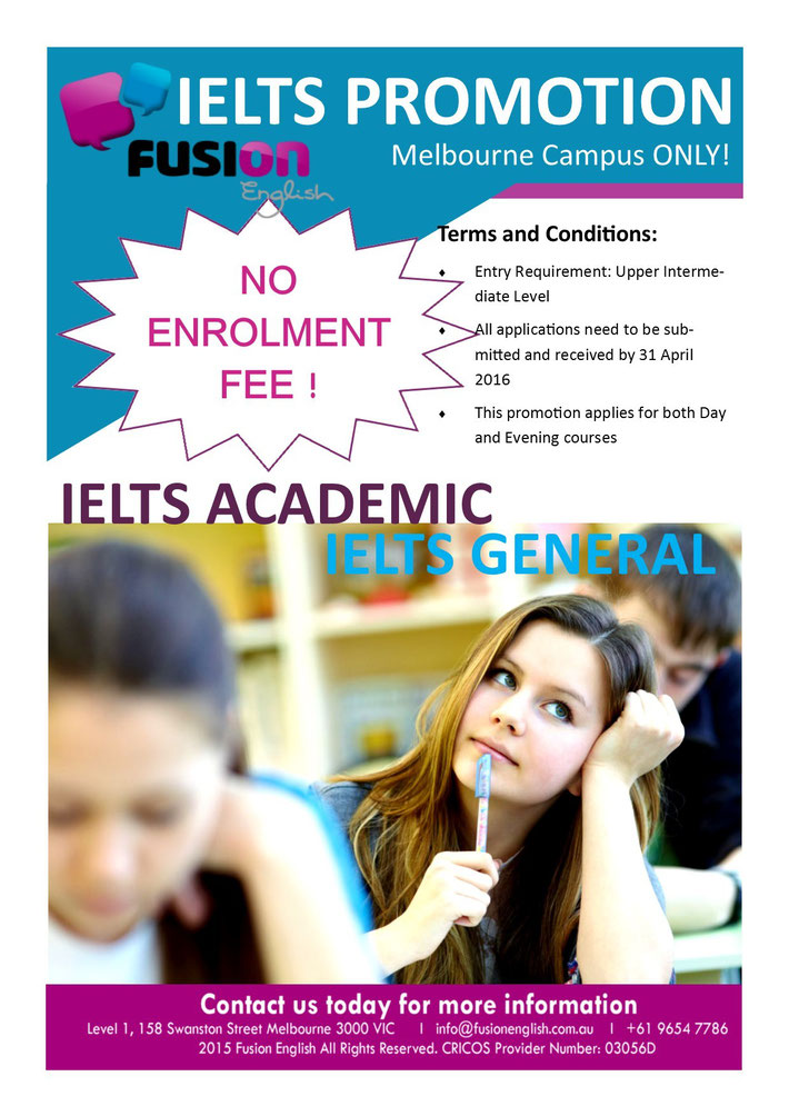 Fusion Melbourne Campus IELTS Promotion