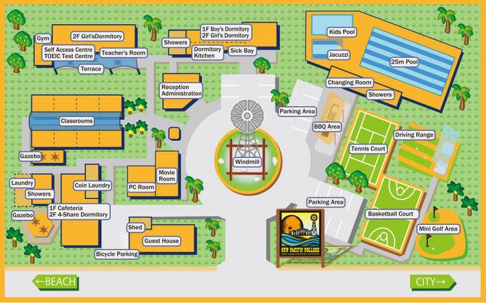 Sun Pacific College キャンパスマップ