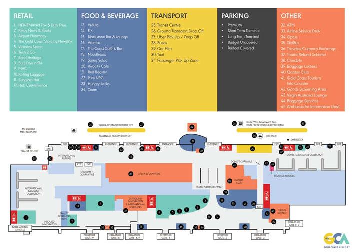 ゴールドコースト空港ターミナルマップ