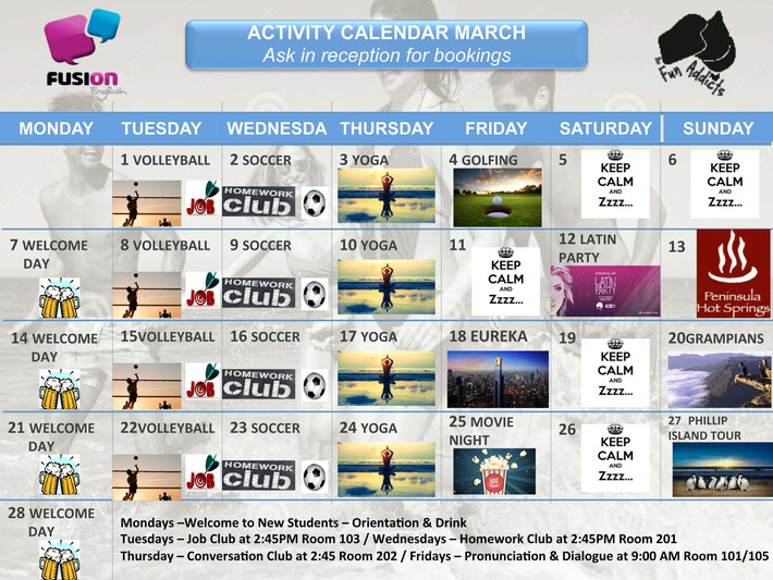 Fusion English Activity Calendar March