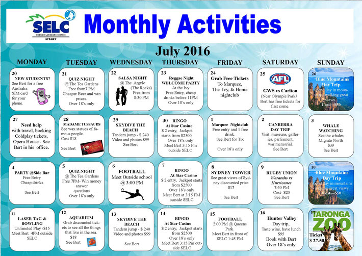 SELC Monthly Activities July 2016