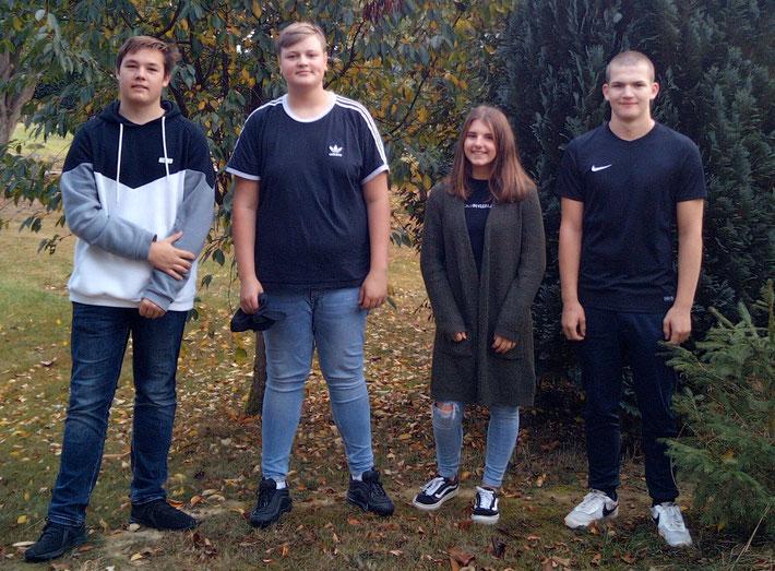 Die neugewählte Schülervertretung (SV): Enrico Waldschmidt (Vertreter), Alexander Meier (Vertreter), Ida Immel (Vertreter), Nikolai Peters (Schulsprecher)