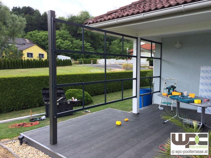 WPC Bambus BPC Terrassendielen Sichtschutz Alu Unterkonstruktion pulverbeschichtet