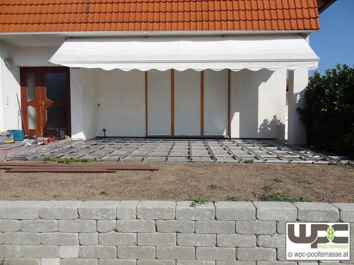 Aluminium Unterkonstruktion WPC auf Waschbetonplatten Terrasse BPC Bambus WPC Terrassendielen