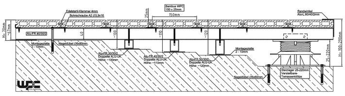 WPC Terrassendielen Unterkonstruktion Alu auf Beton Punktfundament Kies Schotterbett schwimmend mit Stelzlager höhenverstellbar verlegen