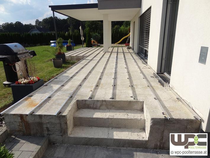 Unterkonstruktion Terrasse : Bilder WPC Aluminium Alu Unterkonstruktion f u00fcr