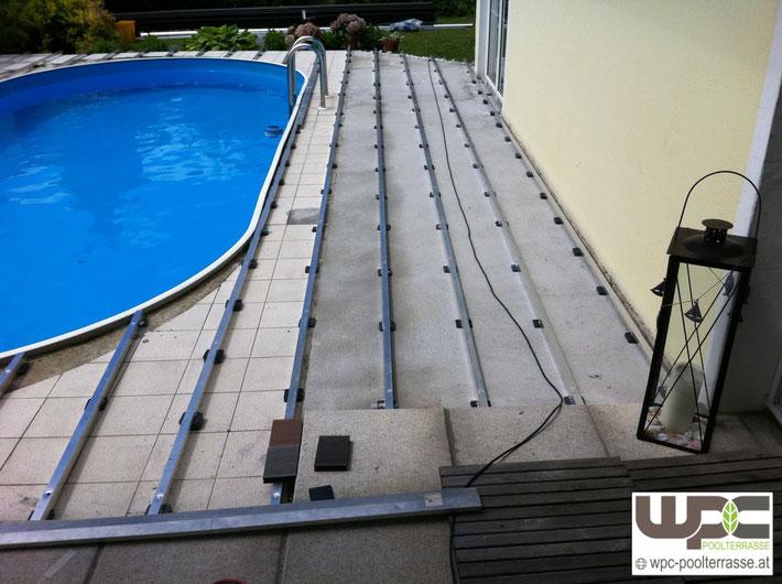 Aluminium Unterkonstruktion auf Beton Fliesen Poolumrandung oval Bambus WPC mit Alu UK