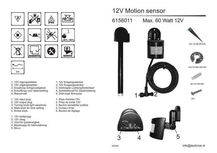 Bewegungsmelder 165A - Techmar Garden Lights - LightPro Gartenbeleuchtung 12V Außenbeleuchtung Anleitung