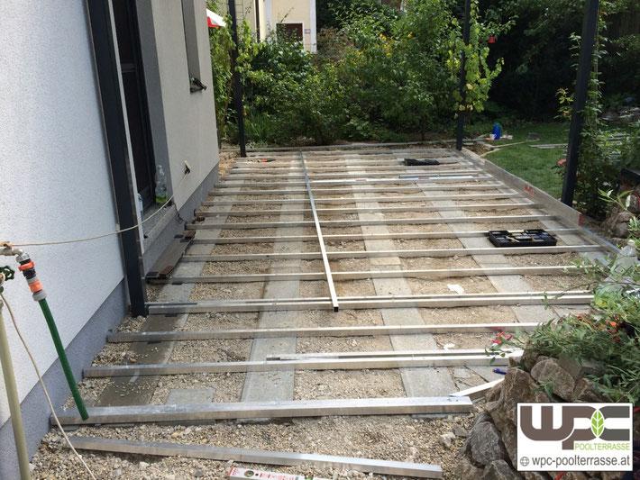 Unterbau Terrasse Schotter : Bilder WPC Aluminium Alu Unterkonstruktion f u00fcr