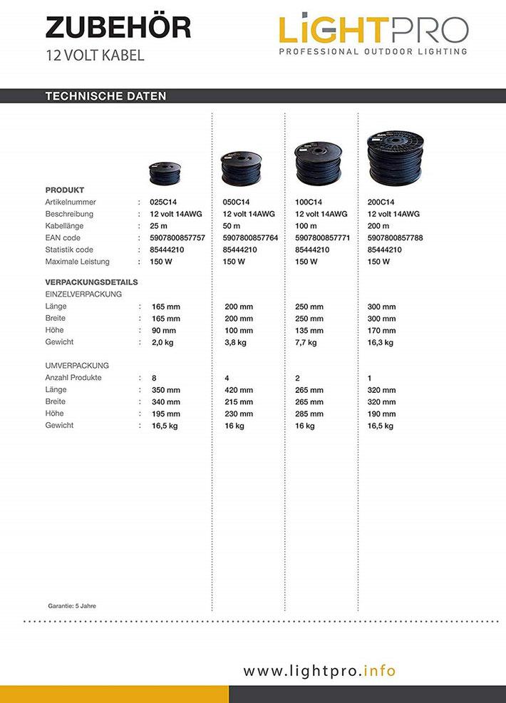Techmar LightPro Kabel Kabelrolle - System - Garden Lights 12V Gartenbeleuchtung Außenbeleuchtung