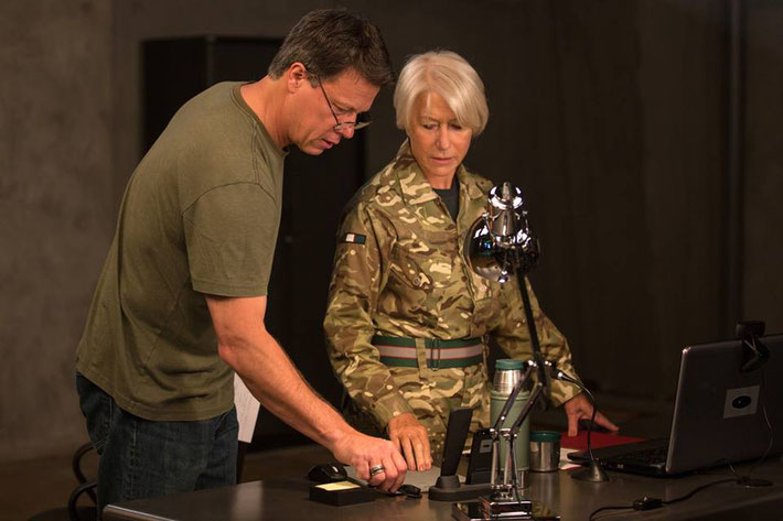 Gavin Hood and Helen Mirren On The Set Of Eye In The Sky