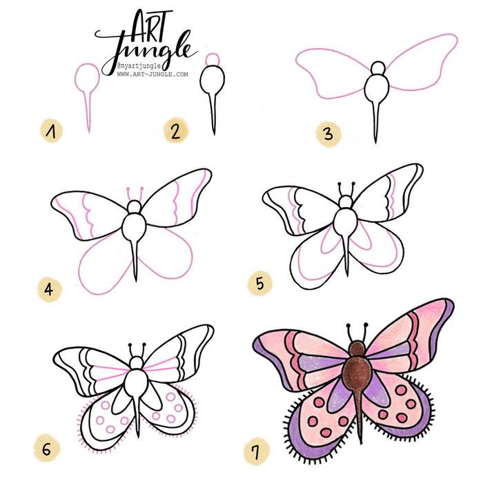 step by step butterfly - Anleitung Schmertterling malen