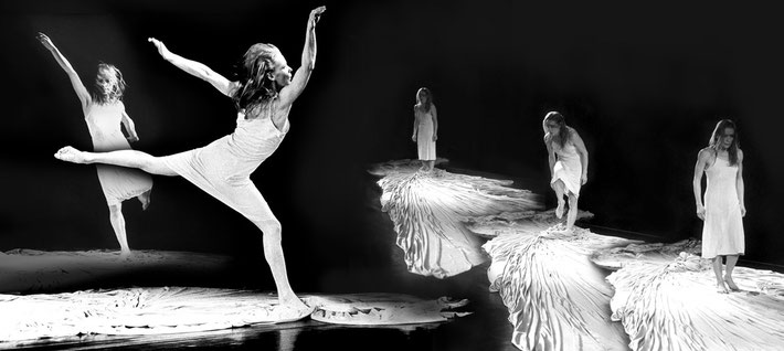 Susanne Linke premiere 1081 Flut solo photo montage Heidemarie Franz