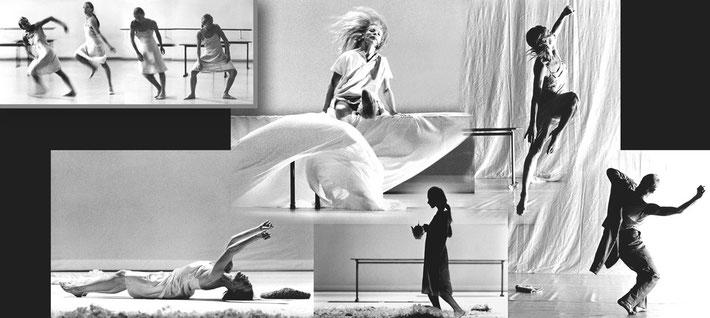 Susanne Linke premiere 1985 Schritte verfolgen solo photo montage Heidemarie Franz