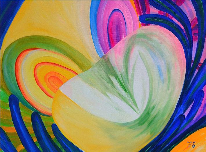 Trompetenblume  (Acryl auf Leinwand)