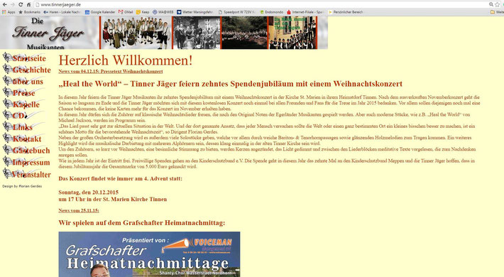 Unsere alte Homepage