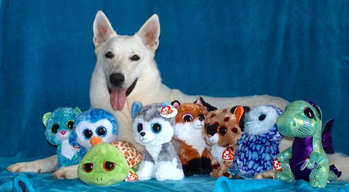 Milka wollte auch ein Foto mit Stofftier